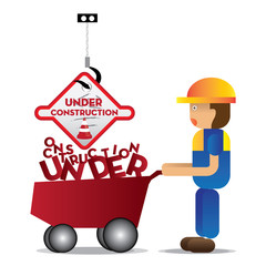 man worker with yellow jumpsuit and yellow helmet holding trolley car with under construction fonts, vector illustration