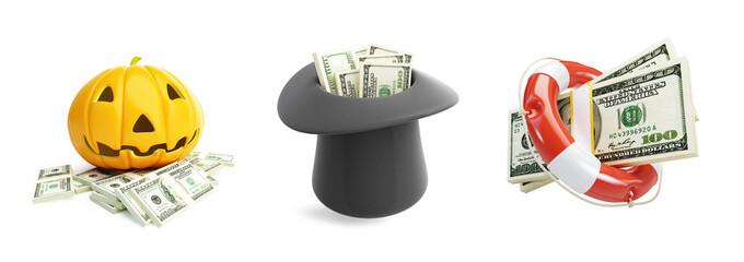 Life Buoy dollar, Money Halloween, hat dollar  on a white background 3D illustration