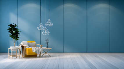 Minimalist room interior,yellow  sofa  with white lamp and  plant on blue wall  /3d render