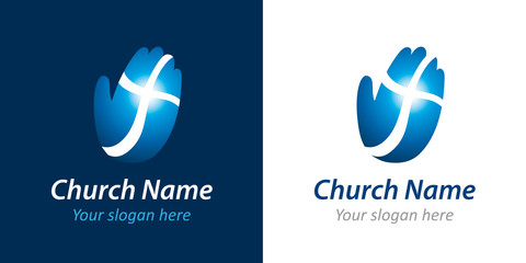 Church vector logo. Hand, palm, praying, shining cross. Christian organization or charity mission bright blue icon. Religious or medical and healthcare symbol.