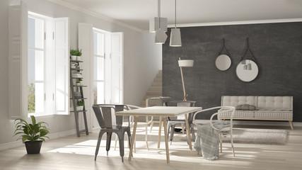 Scandinavian living room with big windows, minimalist white and gray interior design