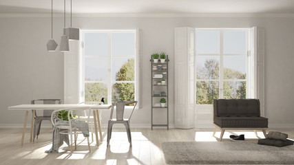 Scandinavian living room with big windows, garden panorama in background, minimalist white and gray interior design