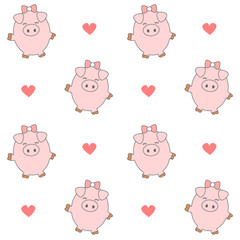 cute cartoon pig seamless vector pattern background illustration