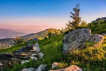 epic sunrise in high mountain ridge