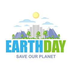 Earth day.  Poster with the image of a city  landscape.