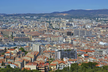 Marseille downtown and old seaport view from Notre-Dame de la Garde basilica. Marseille. France