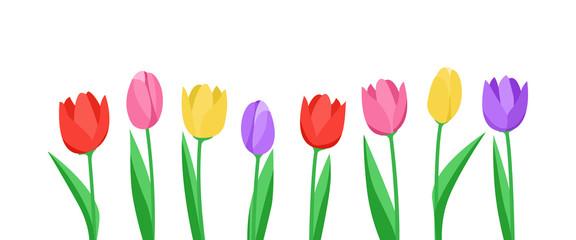 Banner mit Tulpen (in Weiß)