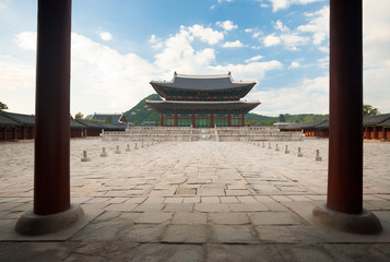 Throne Hall Courtyard inside Gyeongbokgung Palace with Nobody in Seoul, South Korea