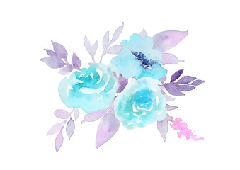 Beautiful composition of flowers pastel shades. Watercolor illustration