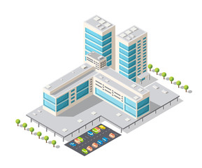 Tourist Hotel is 3D isometric illustration of urban city district with many buildings and skyscrapers, streets, trees and vehicles