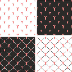 Lobster Big & Small Seamless Pattern Color Set