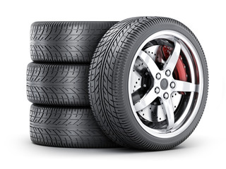 Four car wheel Fototapete