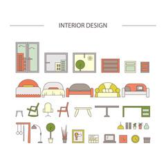 Linear interior design illustration