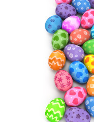 3d render illustrations. Easter eggs on a white background.