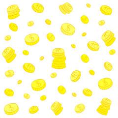 Hand Drawn Golden Coins. Doodle Money Rain. Flat Style. Vector Illustration.