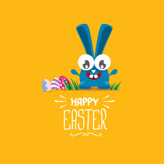 vector happy easter greeting card with funny bunny