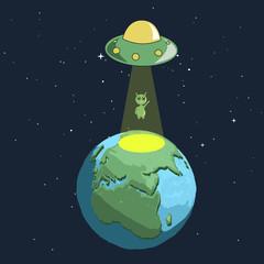 Alien landing to Earth from UFO