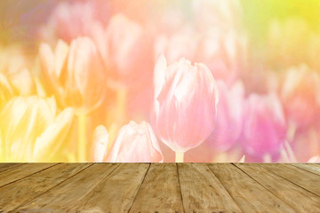 Empty top wooden table on blurred tulip flowers blooming on colorful background