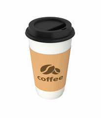 Coffee cup without shadow on white background 3d