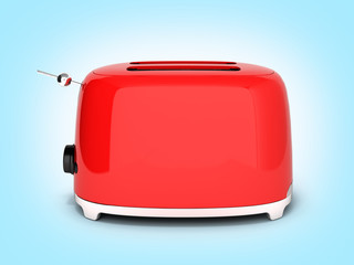 Red retro toaster side view on blue gradient background 3d