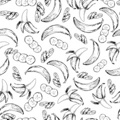 Vector seamless pattern of isolated banana. hand drawn colored exotic fruits. Engraved art.