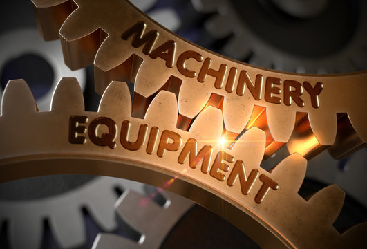 Machinery Equipment on Golden Gears. 3D Illustration.