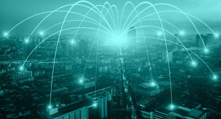 Business networking connection concept and Wi-Fi in city. Technology communication, The wireless communication , High Speed Internet , Optical fiber , Background blur building in the capital