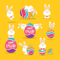 Collection of Easter bunny and egg. A variety of bunny for Easter design.