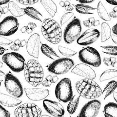 Vector seamless pattern of isolated mango. hand drawn colored exotic fruits. Engraved art.