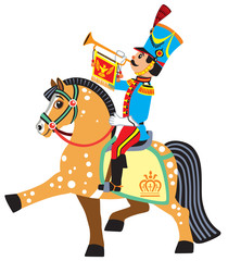 cartoon soldier trumpeter sitting on a horse and blowing a bugle. Side view vector illustration for little kids