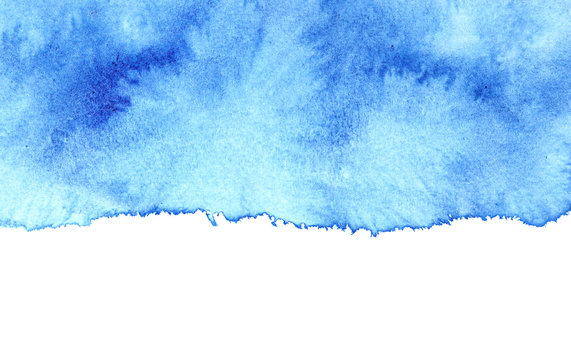 Blue watercolor stain with isolated edge
