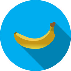 Yellow banana on blue background simple vector icon on white background