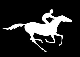 Jockey and horse silhouette with gallop motion on black background. Vector horse race and rider. Black and white vector illustration.