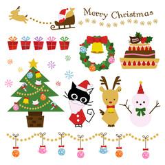 クリスマス ネコ イラスト セット
