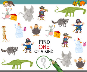 find one of a kind activity game