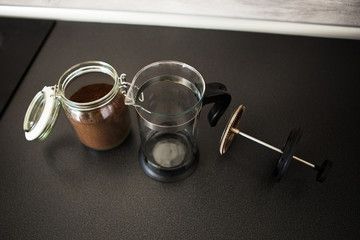 Making coffee in the kitchen of the house
