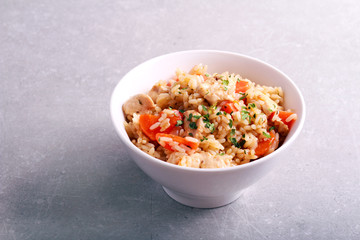 Chicken, carrot and rice casserole