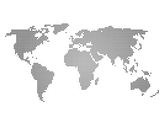 Black halftone world map of small dots in linear arrangement. Simple flat vector illustration on white background.