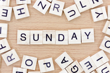 Sunday words with wooden blocks
