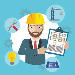 Engineer construction industrial factory manufacturing worker with items