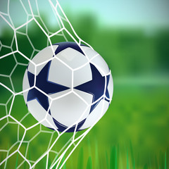 3D Soccer ball. Football ball with blue stars on green background.