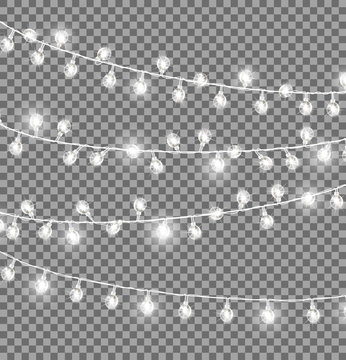 Garlands with Round Bulbs on Dark Background.