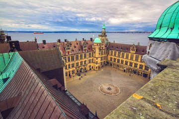 Courtyard of Kronborg castle, Denmark