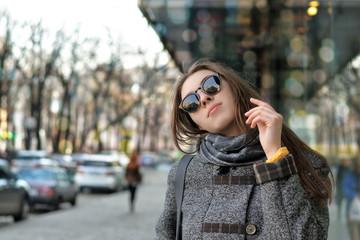 Girl enjoys walking around the city