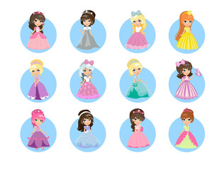 Beautiful Cartoon Princesses Flat Vector Icons Set