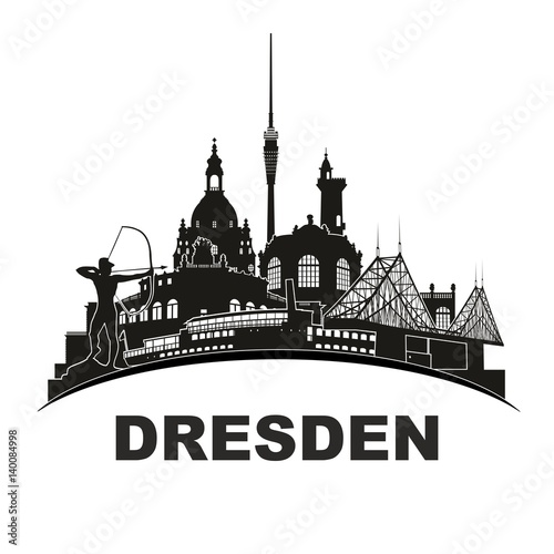 dresden deutschland skyline silhouette rund wandtattoo umriss semperoper zwinger frauenkirche. Black Bedroom Furniture Sets. Home Design Ideas