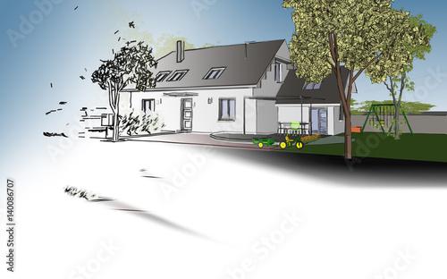 Dessin d 39 architecte et plan de maison photo libre de for Dessin architecte maison