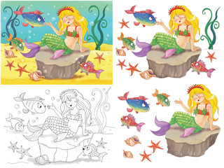Mermaid. Fairy tale. Illustration for children. Funny cartoon characters