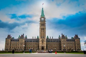 Parliament Building neo-Gothic complex hosting Canada's legislature in Ottawa, Canada Wall mural