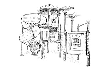 sketch of Kids playground on public space isolated, illustration vector